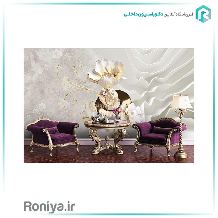 پوستر دیواری گل سفید طلایی